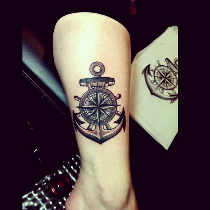 Anchor helm compass tattoo by audrey mello my art for Nautical compass tattoo