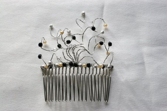 Bride or Bridesmaid Swirly Black, Silver and Faux Pearl Hair Comb