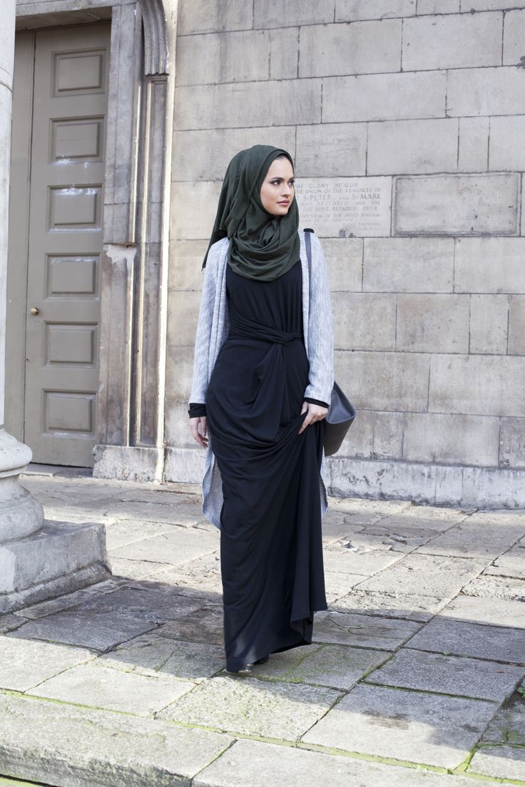 Black Knot Dress Grey Mix Long Cardigan (Thin knit) Dark Green Knitted Hijab | INAYAH www.inayahcollection.com