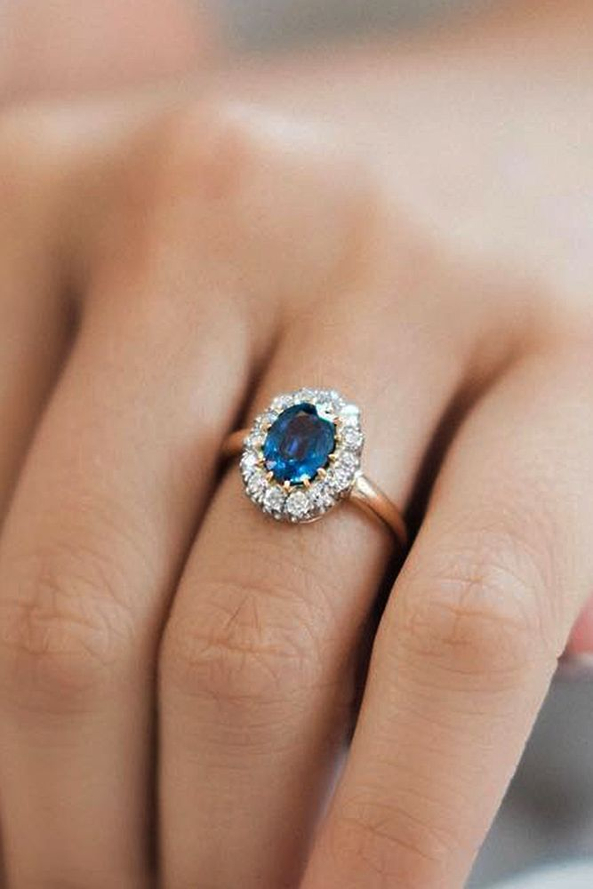 27 Best Rose Gold Engagement Rings For A Tender Look ❤ best rose gold engagement rings halo floral sapphire ❤ More on the blog: https://ohsoperfectproposal.com/best-rose-gold-engagement-rings/