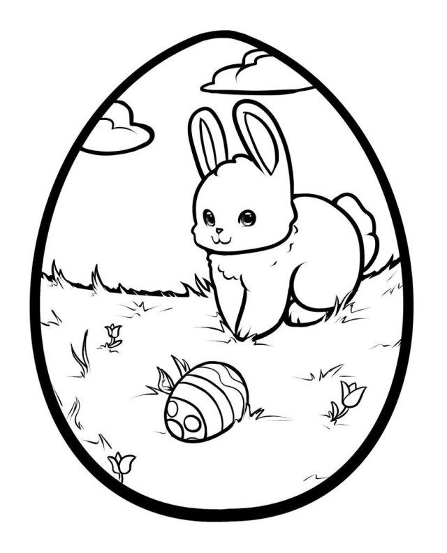 Pictures Of Easter Bunnies And Eggs To Color