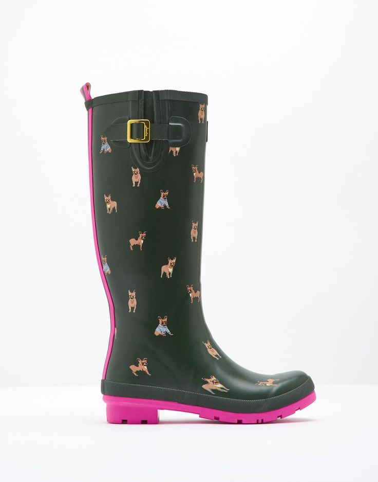 Wellyprint Olive Bulldog Printed Rain Boots | Joules US