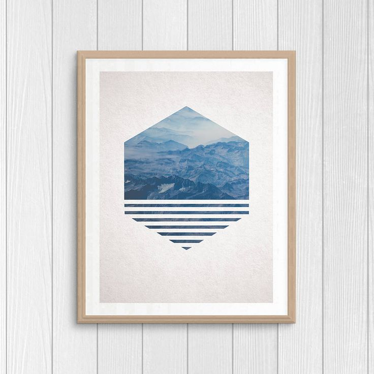 Mountains Photography - Nature Art - Minimal Wall Decor - Printable Gift - Wanderlust Print - Traveler Gift - Geometric Poster - Blue Poster by Thestrangerboutique on Etsy