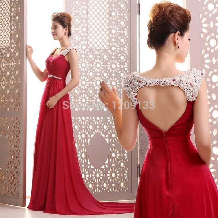 courtlike aline straps pearls beading backless court train long evening dress