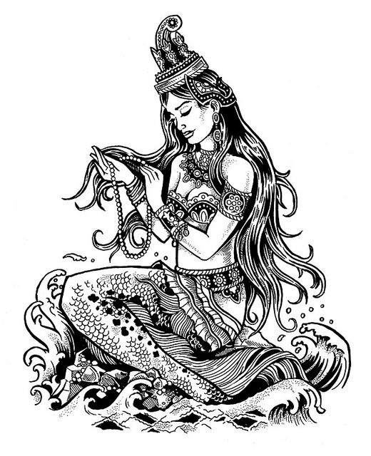 Cambodian Mermaid Pen & Ink by dcastle, via Flickr