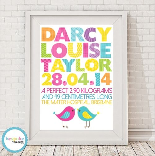 Rainbow Birds Birth Print by Bespoke Moments. Worldwide Shipping Available.