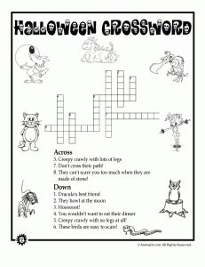 halloween animal crossword 231x300 Halloween Mazes and Word Puzzles