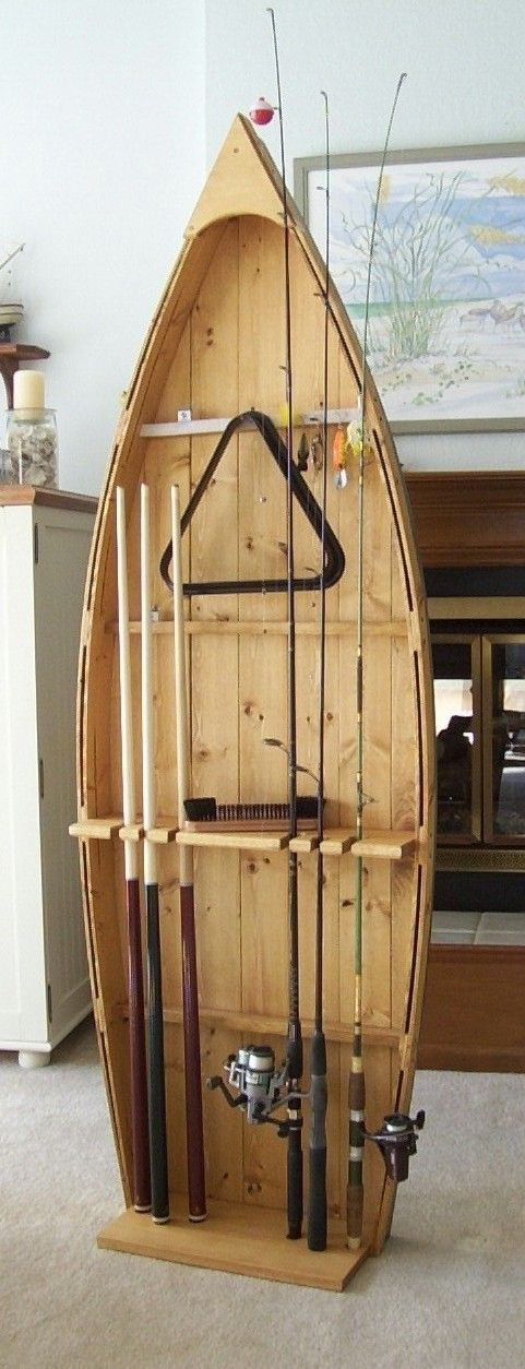 Fishing Rod Display Storage Rack pole holder stand and pool cue stick holder...I want this!