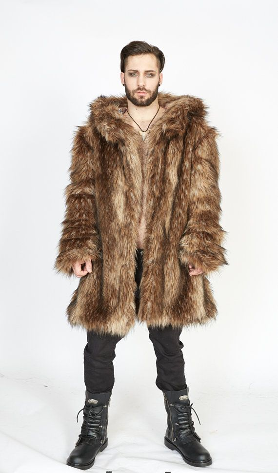 cbe9fe0f90c VIKING Fur Coat Burning Man Playa Jacket Mens Costume