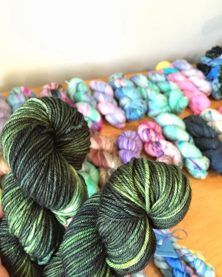 """My mind is buzzing with creative inspiration right now and of course none of it has anything to do with Xmas gifts.  Pictured: """"Fir Crazy"""" on MCN worsted (which is still available in the shop) and my workable in the background full of outgoing orders from earlier this week.  A huge """"Thank you!!"""" to everyone who placed an order this past weekend. I truly appreciate it"""