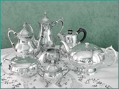 Silver service sets, Silver teapots in various sizes styles, sugar and milk jugs all for hire from High Tea Hire Napier NZ