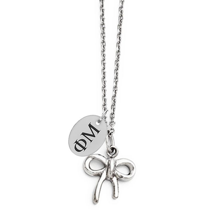 phi mu letters stainless steel bow style necklace