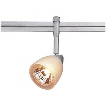 STRATOS Lampenkopf mit weissem Glas für LINUX LIGHT, silbergrau / LED24-LED Shop