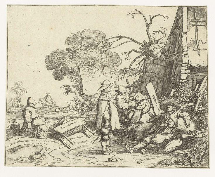 Pieter de Molijn   Landschap met soldaten, Pieter de Molijn, 1626   In een landelijke omgeving staan en zitten soldaten bij een huis of herberg te praten. Op de achtergrond een zittende vrouw en een ruiter bij een (tweede) herberg. Deze prent is onderdeel van een serie van vier prenten van landschappen met figuren.