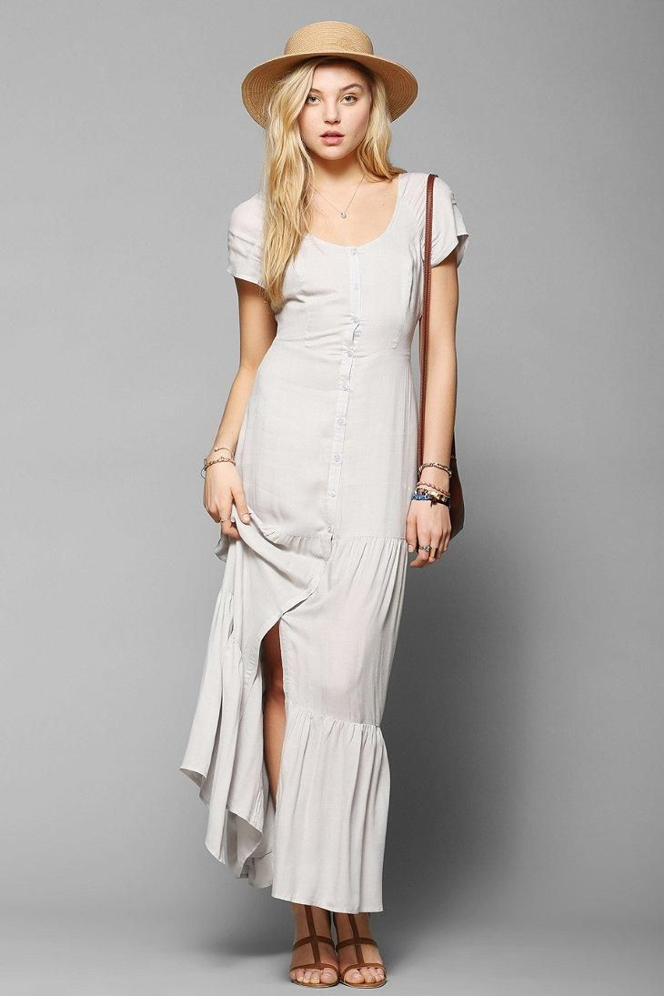 pins and needles buttonfront tiered maxi dress