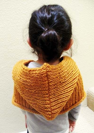 Hooded knitted shawl