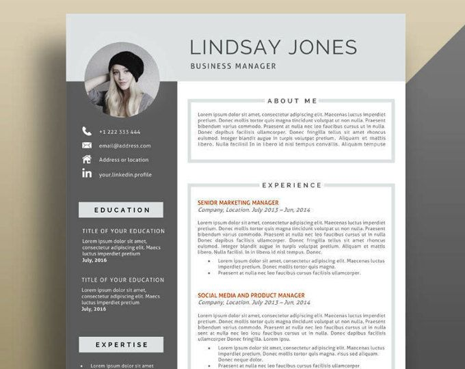 Resume Template, Modern Resume Template, Professional Resume Template, Creative Resume Template. Professional CV Template, Resume With Photo