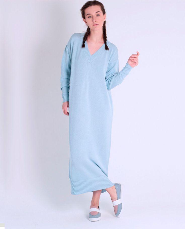 Длинное вязаное платье Le Poudre из вискозы