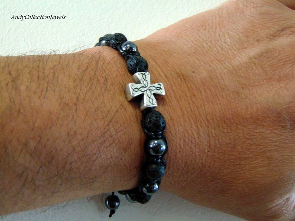 Men's Halloween Hematite Black Shamballa Bracelet with Lava and Silver-Antique Cross