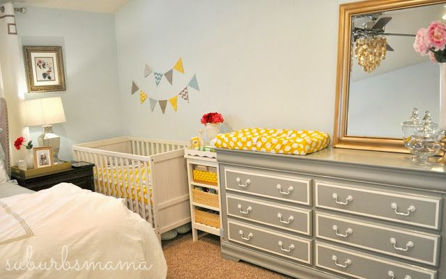 setting up a temporary mini nursery in the master bedroom for you