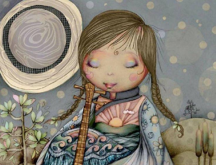 nina-relajada-tocando-un-instrumento-por-karin-taylor