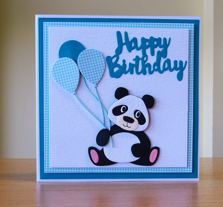 Birthday Card - Marianne Collectables Panda Die. To purchase my cards please visit CraftyCardStudio on Etsy.com.