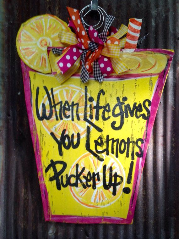 19x25 Pucker up Lemonade Door Hanger is made of two pieces of aluminum screen painted and sewn together