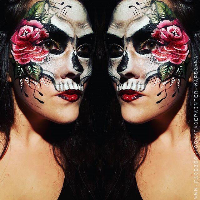 #Halloween fun with #facepainting I'm practising designs for this year not so #sugar #sugarskull #skulls #skulltattoo #facepaint #mua #makeupfun #makeupartist #makijaz #makijaznahalloween #malowaniebuziek #rose #glitterlips #glitter #whysoserious #deadly #tattoostyle #spooky #halloweenmakeup #ilovehalloween @thekatvond tried to be like #katvond