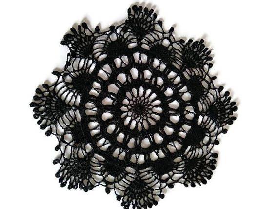 Lace crochet black doily Round tablecloth #Crochetblackdoily