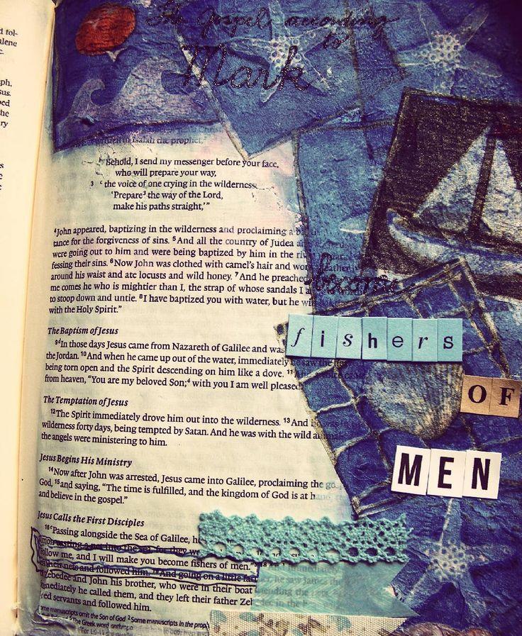 """""""...e eu os farei pescadores de homens."""" Marcos 1:17 #biblejournalingcommunity #biblepost #biblejournal #bibleartjournaling #mixedmediacollage #bibleverse #biblejournaling #devocional #biblejournalingdaily #jesussaves by elbernardes"""
