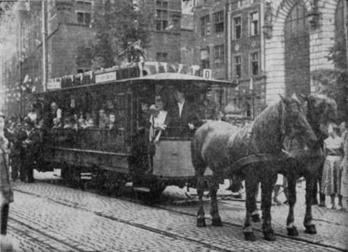 Horse-drawn tram at Długi Targ (Long Market) in Gdansk, Poland, 1895.