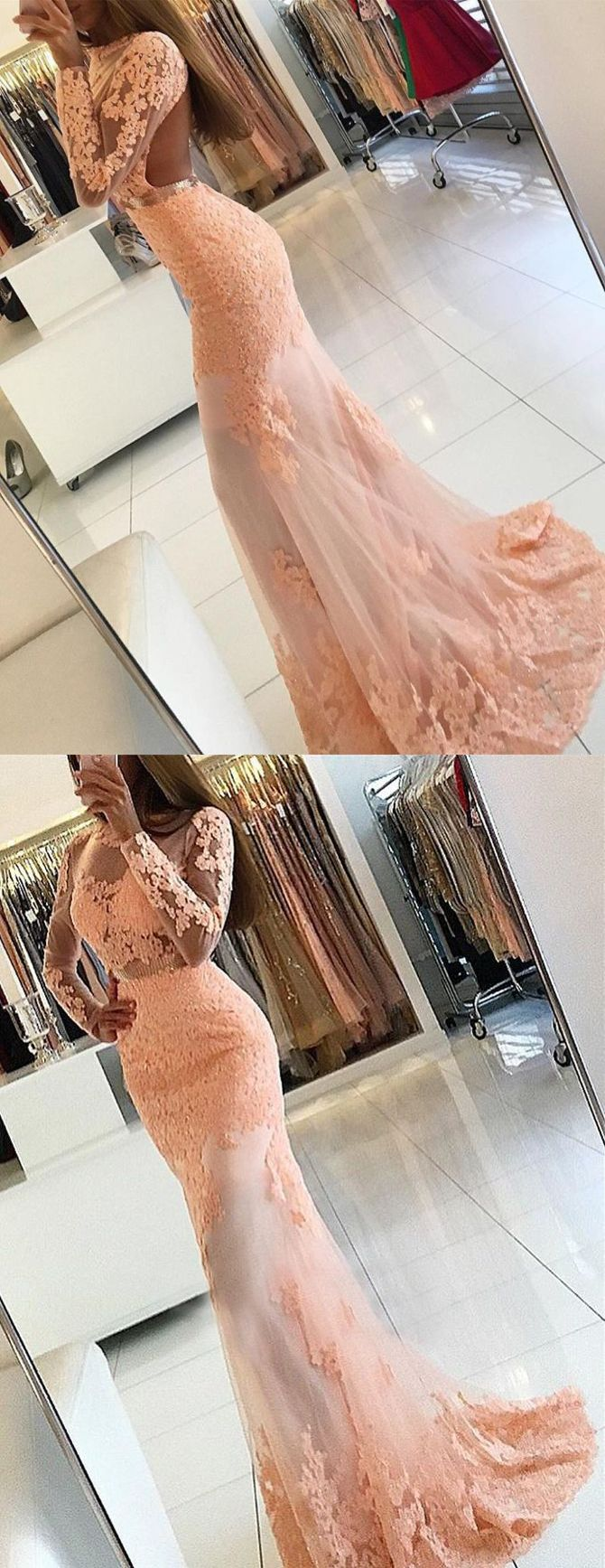 pearl pink prom party dresses with open back , chic lace evening dresses with long sleeves, elegant formal party dresses with train.