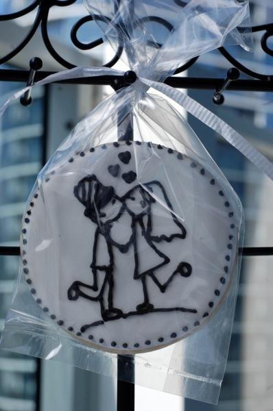 Bride and groom stick figure wedding cookies
