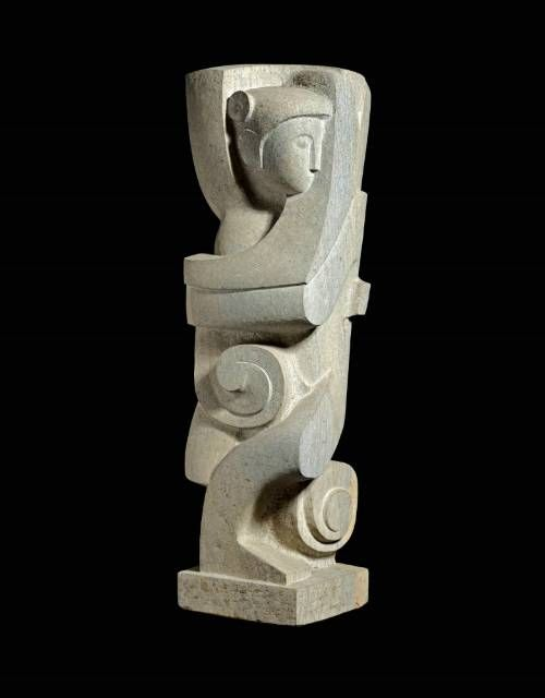'Dancing Figure', George Kennethson, 1958. Carved from Clipsham stone.