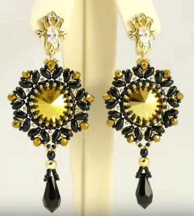 free beading tutorial how to make earrings using rivoli and superduo featured in recent