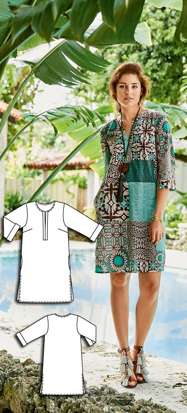 Tunic Dress Burda Apr 2016 #108A  Pattern $5.99: http://www.burdastyle.com/pattern_store/patterns/tunic-dress-042016