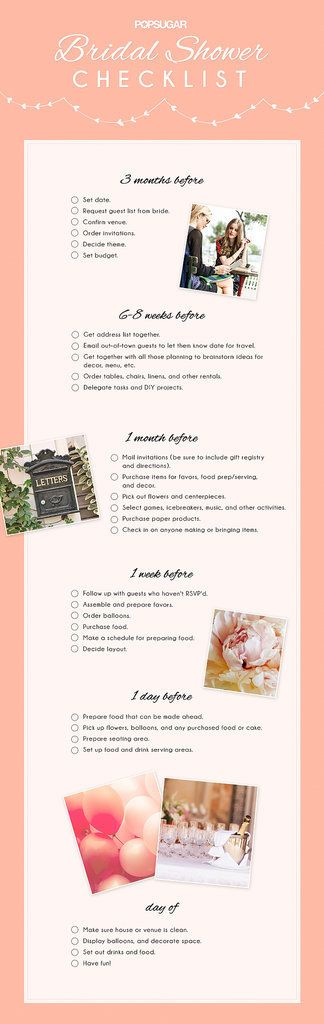Bridal Shower Checklist. stuff that should be done already: Set date. Request guest list from bride. Confirm venue. Order invitations. Decide theme. Set budget. Get address list together. Email out-of-town guests to let them know date for travel. Get together with all those planning to brainstorm ideas for decor, menu, etc. Order tables, chairs, linens, and other rentals. Delegate tasks and DIY projects.