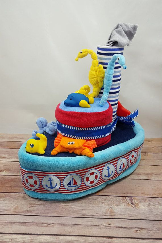 Nautical Diaper Cake Boat Diaper Cake  Ship by OnceinaLullabyGifts