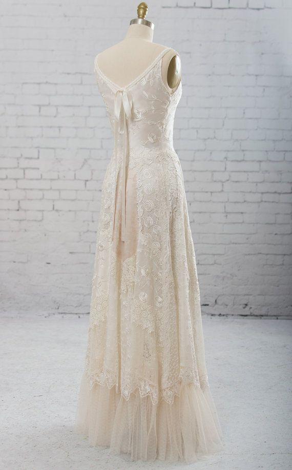 Boho wedding dress, casual bridal gown, bridal gown, rustic bridal gown, backless bridal gown, hippie bridal gown