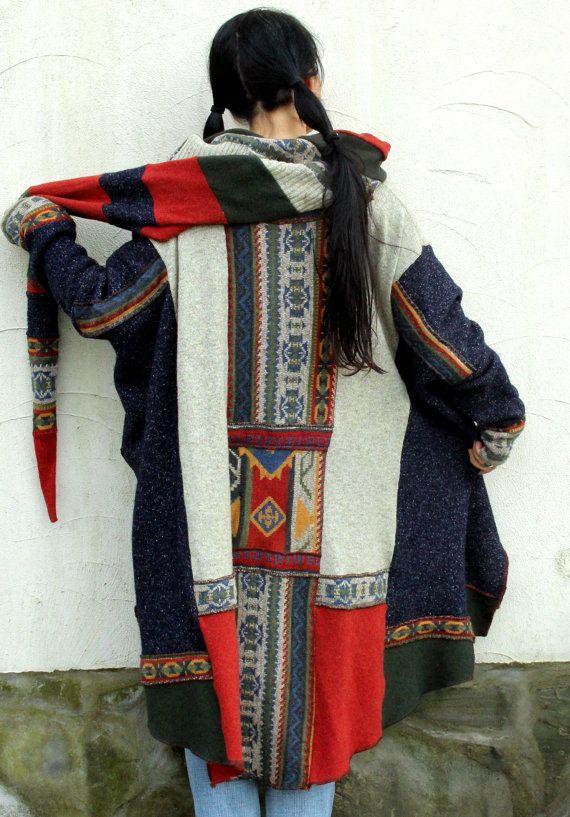 Ethnic folk recycled patchwork sweater poncho hood by jamfashion