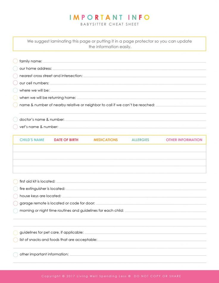 Best 25+ Babysitter printable ideas on Pinterest Babysitter - emergency contact forms