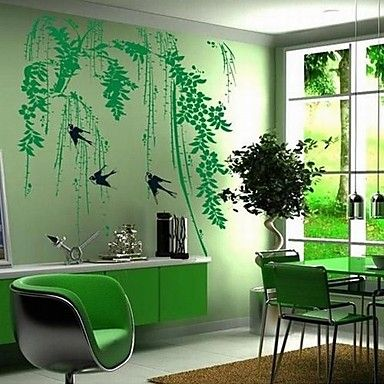 Landscape Green Willow and Swallow Wall Stickers 1676952 2016 – $11.43