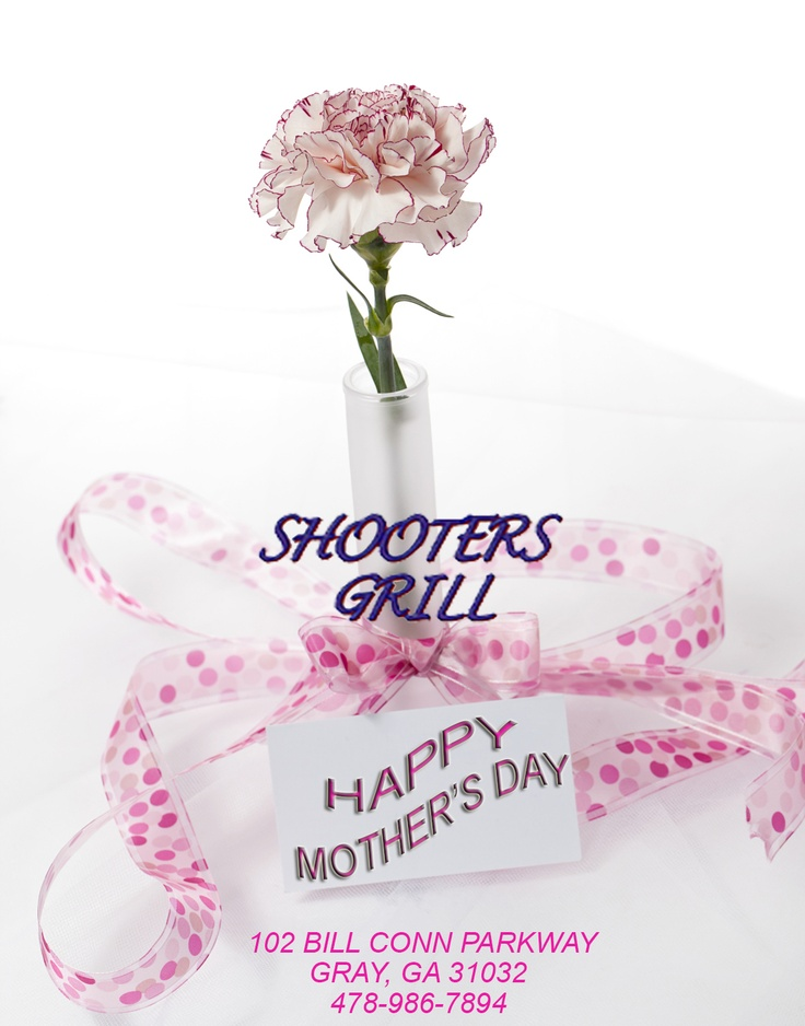Don't forget- This is your Official Mother's Day reminder- MAY 12th. Show your Appreciation & Love with a Shooters Grill Gift Certificate! Also- Be on the lookout for some Specials we'll have for Saturday so you can make plans NOW for this weekend! We love our MOM's!