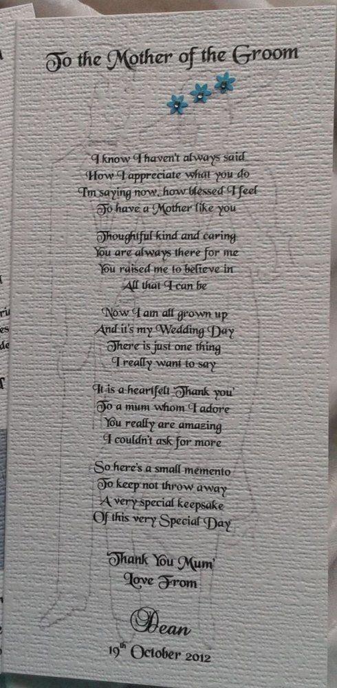 Mother or Parents of the Groom Wedding Sentiment Card Handmade Keepsake Poem