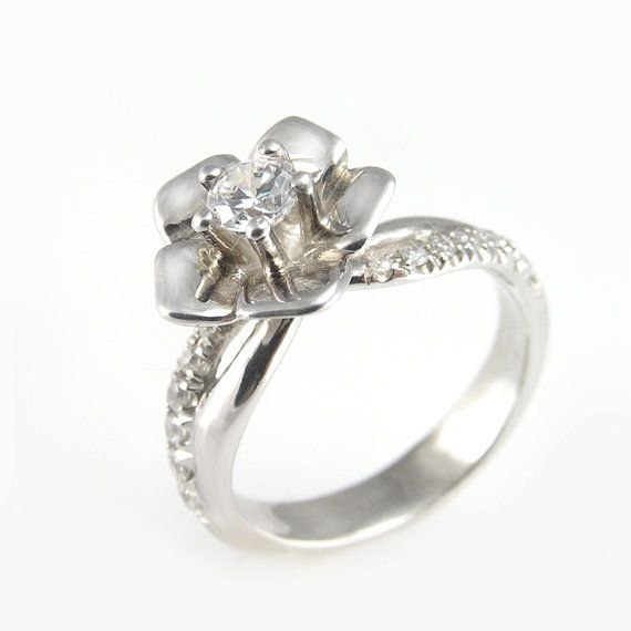 Flower diamond engagement Ring White gold with by GilatArtzi