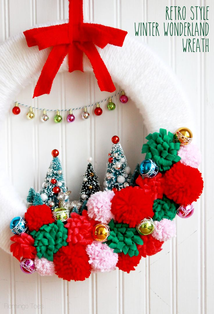 Retro Winter Wonderland Wreath | Christmas Wreath Idea from @bevrmccullough