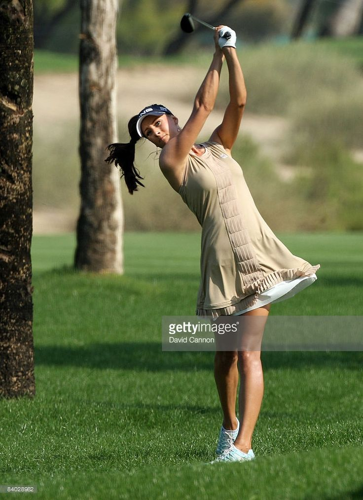 Maria Verchenova of Russia hits her second shot at the 5th hole during the final round of the Dubai Ladies Masters on the Majilis Course at the Emirates Golf Club on December 14, 2008 in Dubai,United Arab Emirates