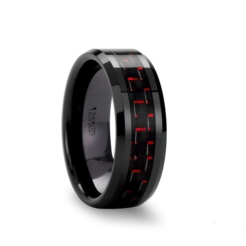 VAMPIRE Beveled Black Ceramic Wedding Band with Black and Red Carbon Fiber 8mm
