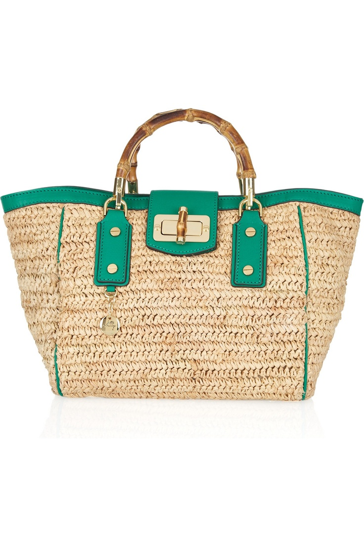 MILLY  Leather-trimmed woven raffia tote