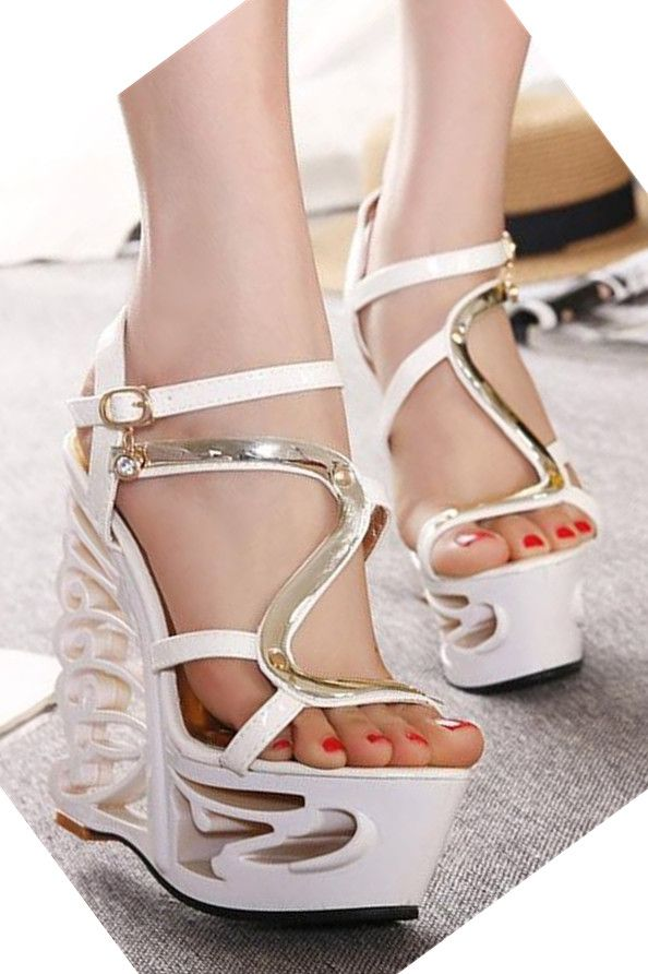 ac120b5887fe Affordable Pure White Platform Heeled Sandals High Heels Shoes. Fashion  accessory for sale in our